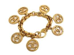 link bracelet charms images Chanel vintage gold medallion coin cc charms chain link dangle jpg