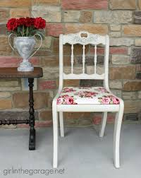 shabby chic chair makeover in the garage