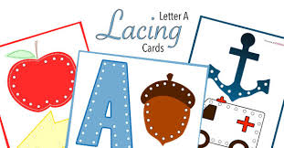 letter a lacing cards free printable