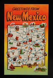 Nm State Map 1950s State Map Landmarks Icons Yucca Flower Nm Postcard New