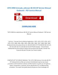 1973 1990 evinrude johnson 48 235 hp service manual outboard pdf