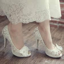white wedding shoes luxurious model bridal lace shoes peep toe koren white wedding
