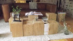 bout de canap bois mobilier cube de bois brut