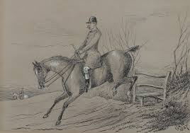 19th century fox hunting sketch by canon george robert winter 1826