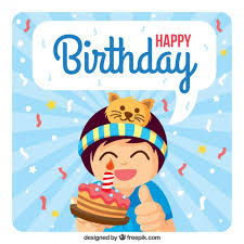 boy with a cake happy birthday card vector free