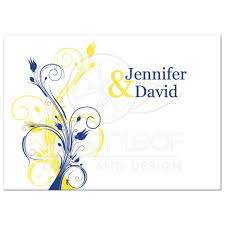 Royal Blue Wedding Invitation Cards Wedding Invitation Royal Blue Yellow White Floral