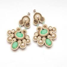 soutache earrings mint earrings mint chandelier earrings mint statement