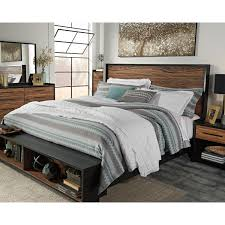 king platform bed w storage bench footboard by signature design