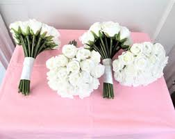 bridesmaid bouquets bridesmaid set of 2 flower bouquet set white