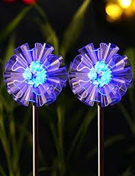 solar stake lights outdoor zeal set of 2 3 life size dandelions led color changing solar
