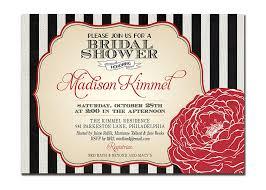 modern bridal shower invitation black white red flower wedding