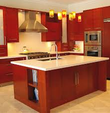 Kitchen Backsplashes With Granite Countertops by Kitchen Island Sink Unit Oven Microwave And Refrigerator On Corner