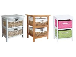 White Tallboy Bedroom Unit Maize Storage Unit 3 Drawer Wood Organiser Basket Drawers White