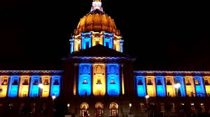 sf city hall lights san francisco city hall lights in golden state warriors color