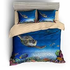Sea Turtle Bed Sheets Amazon Com Bomcom 3d Duvet Cover Set Sea Turtle Submarine World