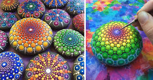 Paint Colorful - artist paints ocean stones with thousands of tiny dots to create