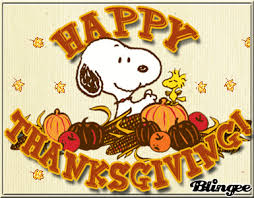 happy thanksgiving and blessings to all snoopy and friends