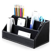 Desk Organizer Home Office Desk Pu Leather Stationery Organizer Pencils Holder