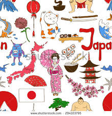 fun colorful sketch japan seamless pattern stock vector 204103795