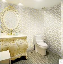 Waterproof Wallpaper For Bathrooms Vinyl Wallpaper Mosaic Embossed Floral Wall Paper Blue Bathroom