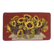 essential home sunflower basket kitchen rug