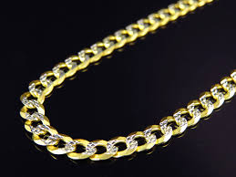 gold solid necklace images Real 10k yellow gold solid diamond cut cuban link chain necklace jpg