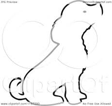 cartoon of a sketched black and white outline of a sitting puppy