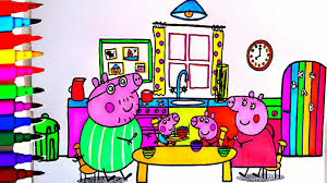 peppa pig coloring book pages rainbow kitchen kids fun art