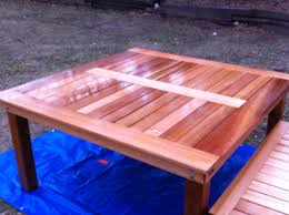Simple Wooden Bench Design Plans by Ana White Simple Square Cedar Outdoor Dining Table Diy Projects