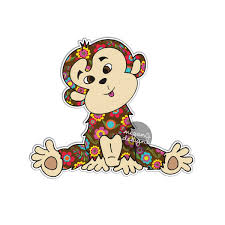 monkey sticker car decal laptop decal bumper sticker colorful zoom