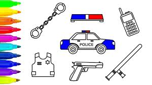 learn colors for kids with car coloring pages police sets