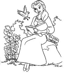 beauty beast belle reading coloring pages kids clm