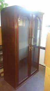 Furniture Secretary Desk Cabinet by Ethan Allen Solid Cherry Wood Bookcase Curio Secretary Desk