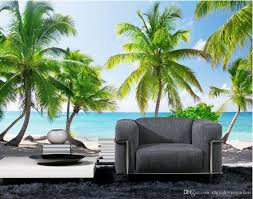 beach coconut trees blue sky white clouds background wall murals see larger image