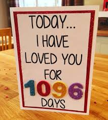 3 year anniversary gift ideas for 3 year anniversary card today i loved you for 1096 days x 3