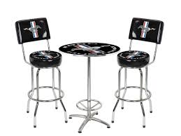 table with 2 stools mustang chrome black running horse 27 round cafe table 2 bar stools