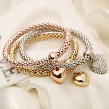 heart charm bangle bracelet images Stylish heart charm bangle elastic bracelets 3 pcs set jpeg