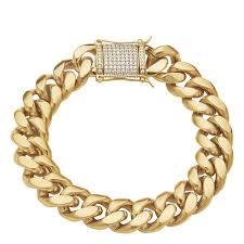 cuban link bracelet gold images 14k gold plated 8 5 quot miami cuban link bracelet stoneberry