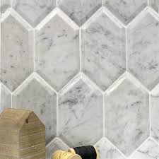 shop for beveled white carrara hexagon polished marble tile at