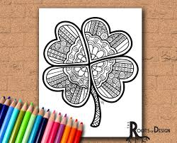 instant download coloring page four leaf clover shamrock
