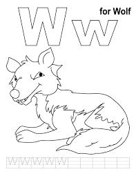 w for wolf coloring page with handwriting practice download free
