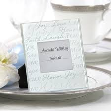 picture frame wedding favors wishes frosted glass square place frame glass and