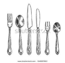 kitchen forks and knives silverware vintage spoon fork knife stock vector 587915171