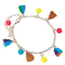 smiling pile of poo and coloured charm bracelet s