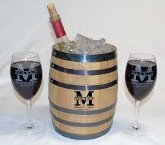 wine glass gift engraved oak barrel w wine glasses gift set