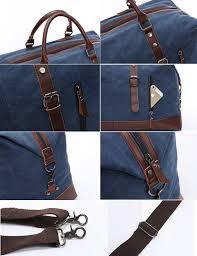 leather travel bags images Baosha oversized canvas pu leather travel tote duffel jpg