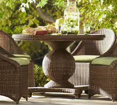 all weather dining table palmetto all weather wicker round pedestal dining table honey