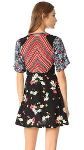 free people mix it up printed mini dress black combo women