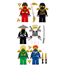 lego ninjago 6 ninjas removable wall stickers set with free zoom