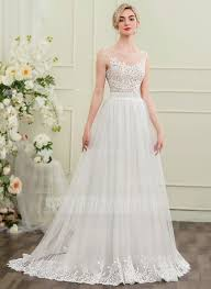 tulle wedding dress a line princess scoop neck sweep tulle wedding dress